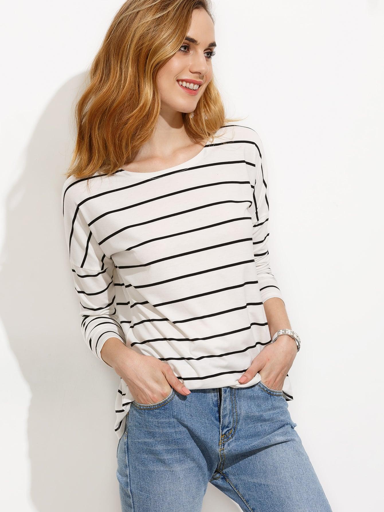 White Striped Drop Shoulder T-shirt
