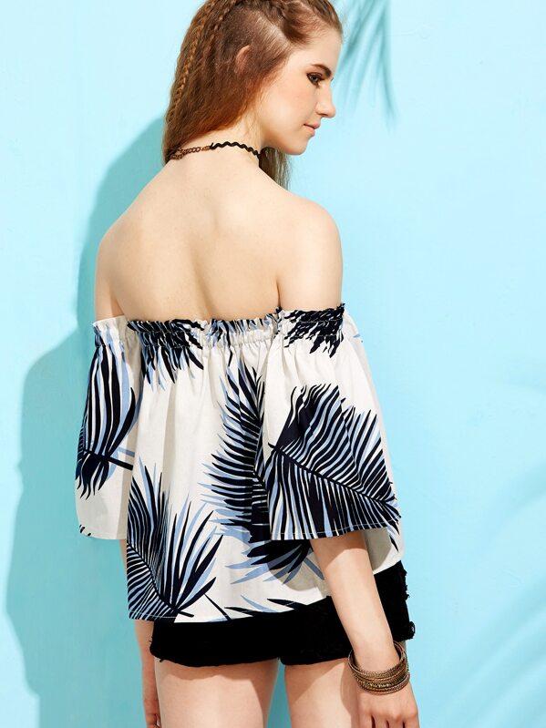 b8aa86fdef4b0 White Tropical Leaf Print Off The Shoulder Top