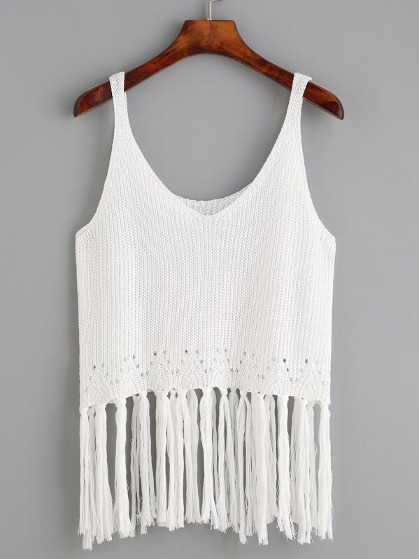 bff783b427f4b Fringe Trim Knit Tank Top