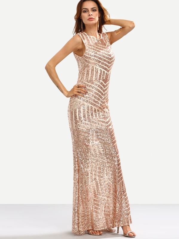 56aaceb59a2c6 Vestito lungo a sirena smanicato a schiena nuda con paillettes luccicanti - oro  rosa. AddThis Sharing Buttons