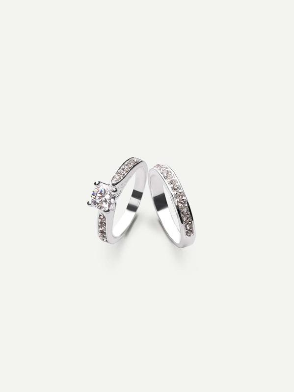 3b6f0aa69c Silver Zircon Couple Rings | SHEIN