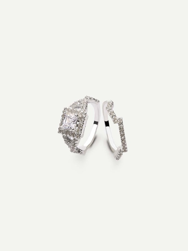 a661b576c8 Silver Square Zircon Couple Rings | SHEIN UK