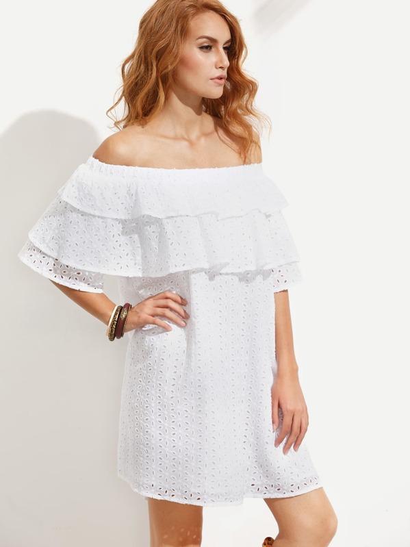 cd7e307948a6 White Ruffle Off The Shoulder Shift Dress