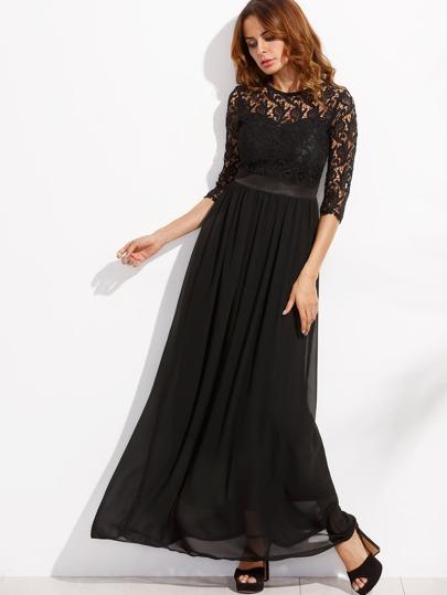 672e7ec14 فستان ماكسي شيفون أسود تداخل دانتيل نصف كم | شي إن