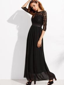 ef22936159ac4 Lace Overlay Full Length Chiffon Dress | SHEIN