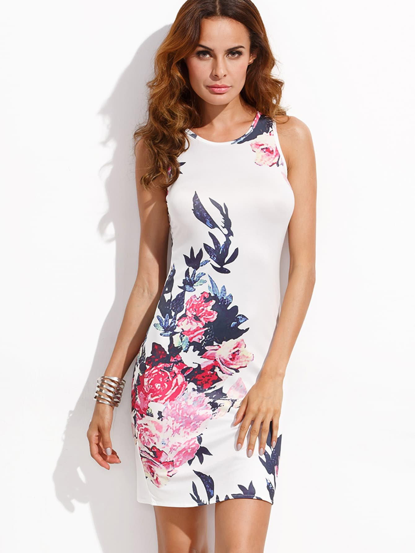 Flower Print Slit Back Tank Dress Shein Sheinside