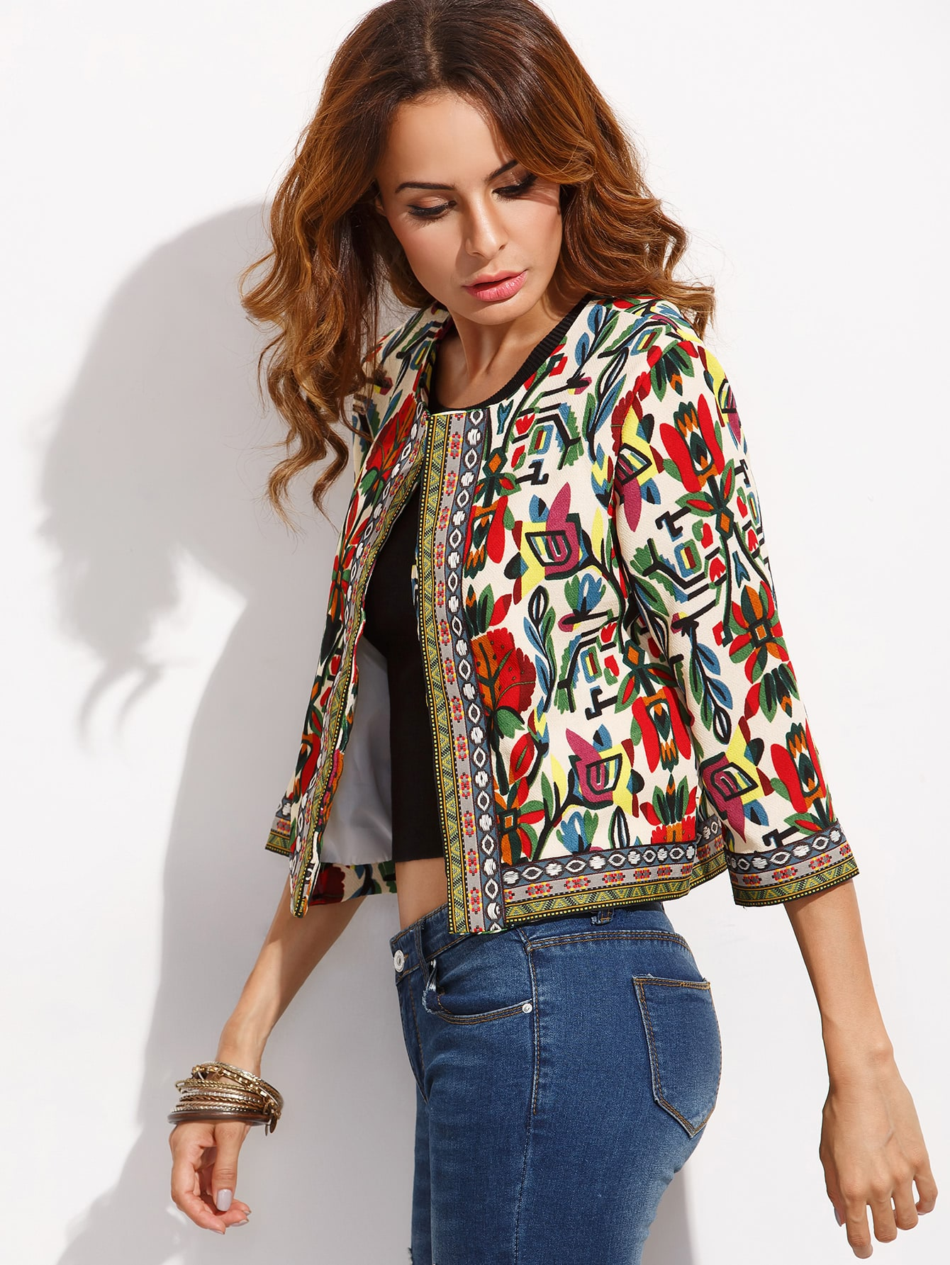 7cda3a44d3 Tribal Print Embroidered Tape Detail Outerwear | SHEIN IN