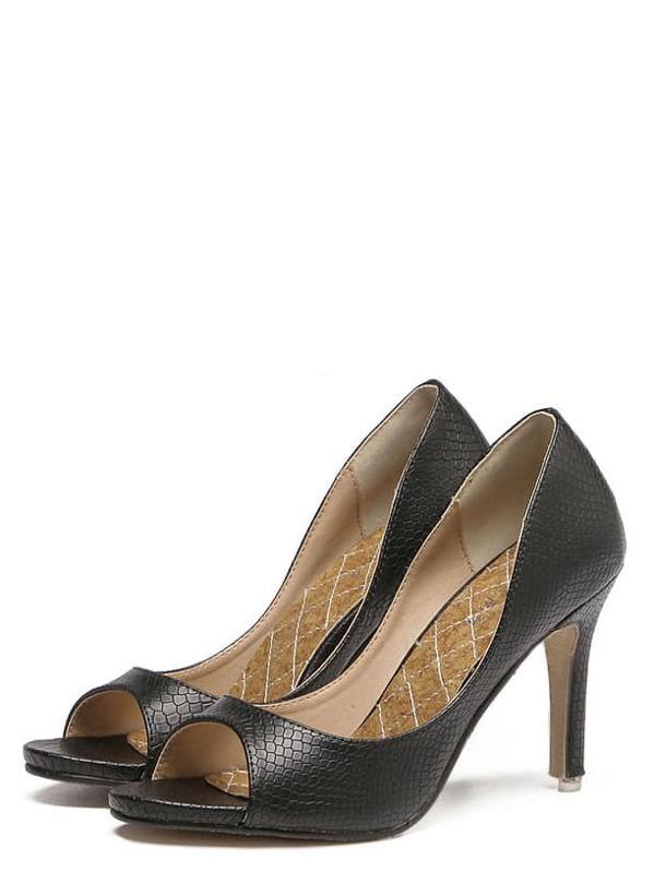 38b534f3e391 Black Snakeskin Mule Stiletto Heels -SheIn(Sheinside)