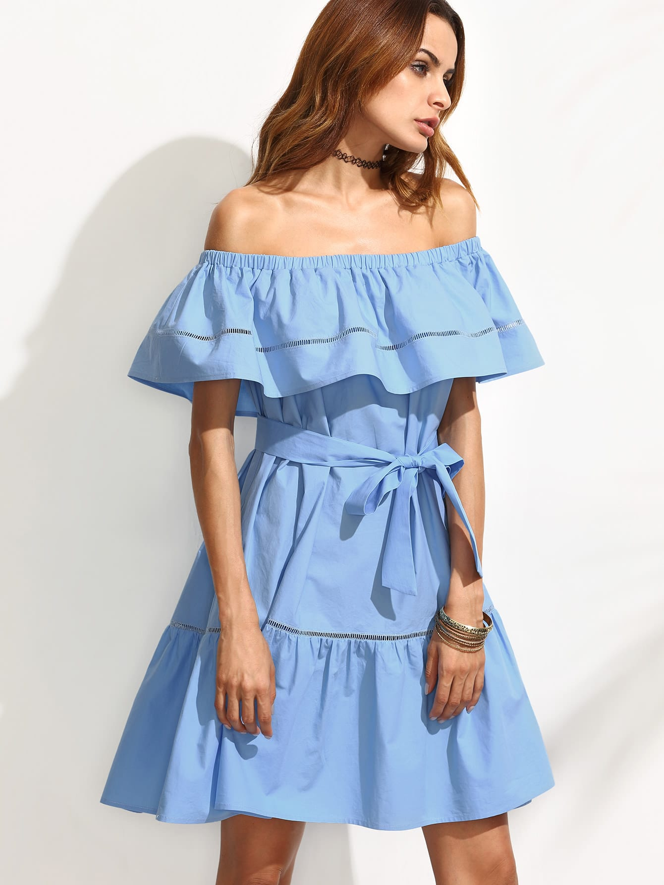 c1dd04a324 Flounce Layered Neckline Tie Waist Hollow Insert Ruffle Hem Dress
