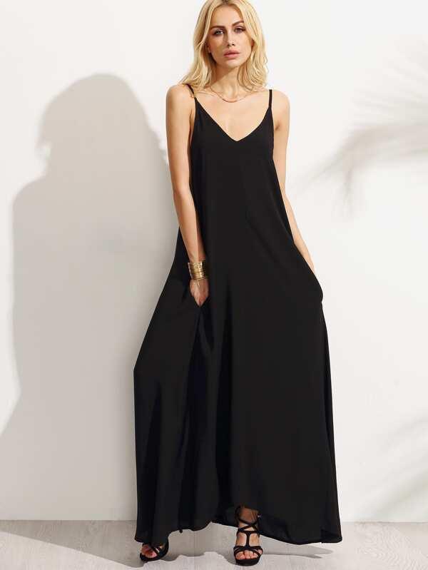 Robe longue noire bretelles