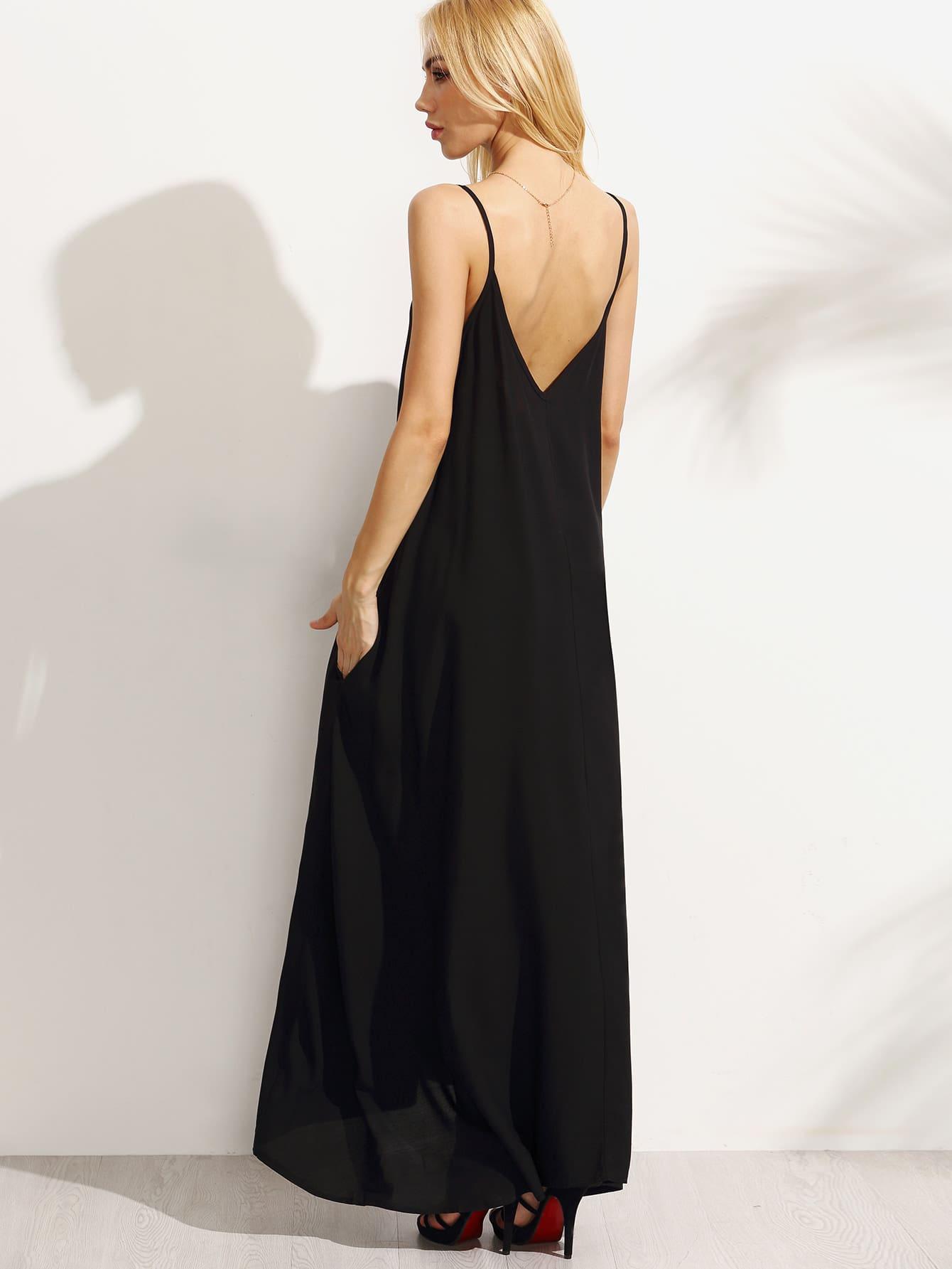 robe longue bretelle noir french shein sheinside. Black Bedroom Furniture Sets. Home Design Ideas