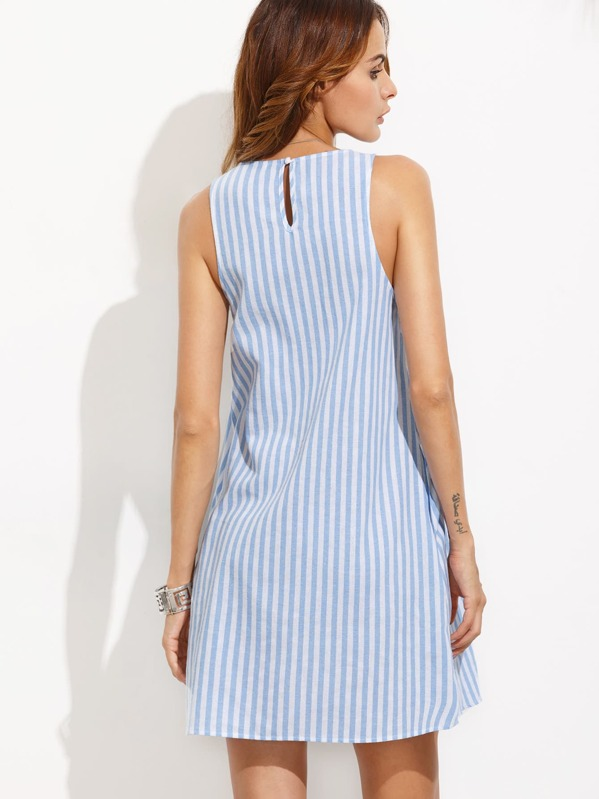 686514c941 Vestido rayas sin manga holgado - azul blanco