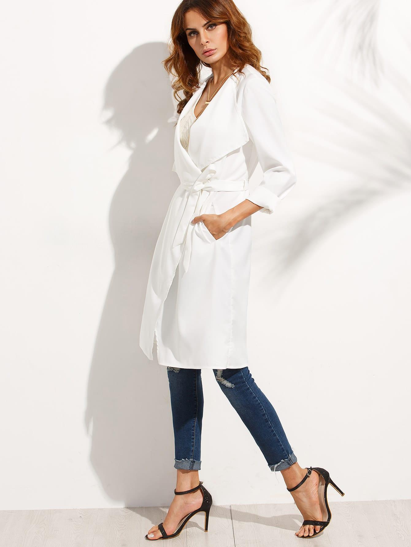 manteau long col revers avec poches blanc shein. Black Bedroom Furniture Sets. Home Design Ideas