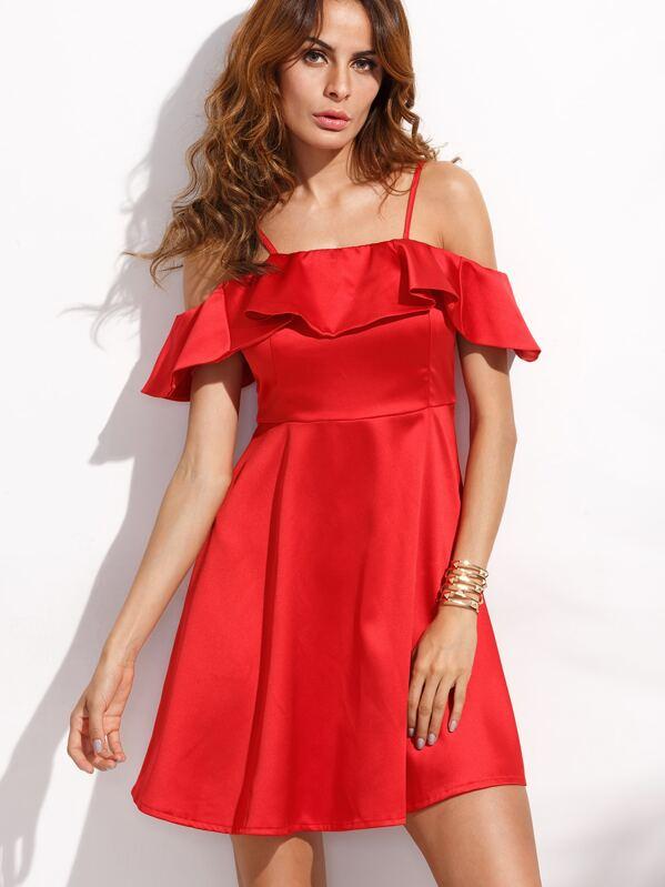 f1e77b167c Red Cold Shoulder Fold Over Ruffle A Line Dress | SHEIN UK