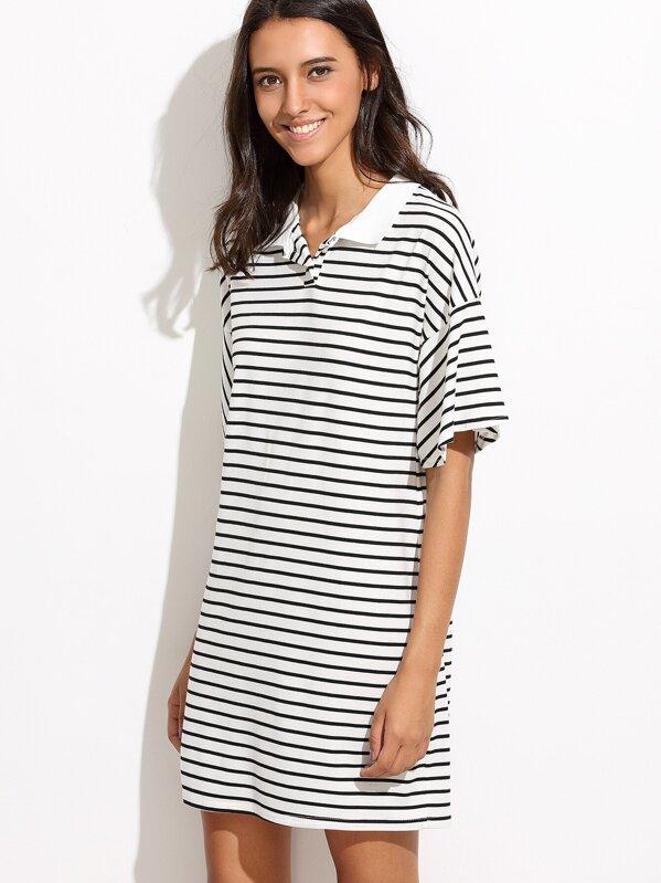 fec8d4fdccc7 Vestido camiseta hombro drapeado rayas - negro blanco