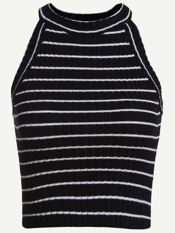 Striped Ribbed Knit Halter Neck Top Sheinsheinside