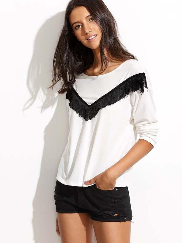 55f28ec590 White Fringe Trim Long Sleeve T-shirt   SHEIN UK