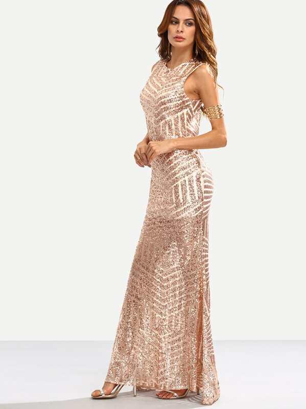 708d87bde313c Vestito lungo a sirena smanicato a schiena nuda con paillettes luccicanti - oro  rosa