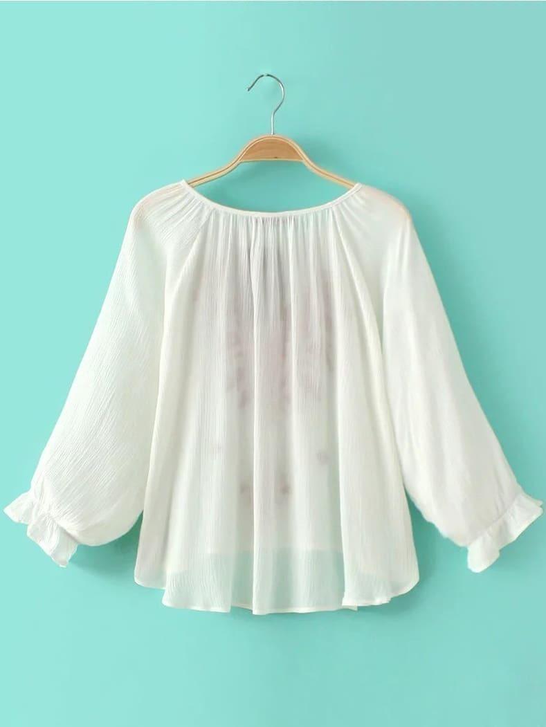 White Elastic Cuff Tie Neck Embroidery Blouse -SheIn(Sheinside)