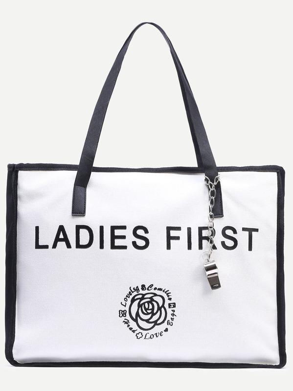 8d997c564 Black White Letter Print Canvas Tote Bag | SHEIN IN