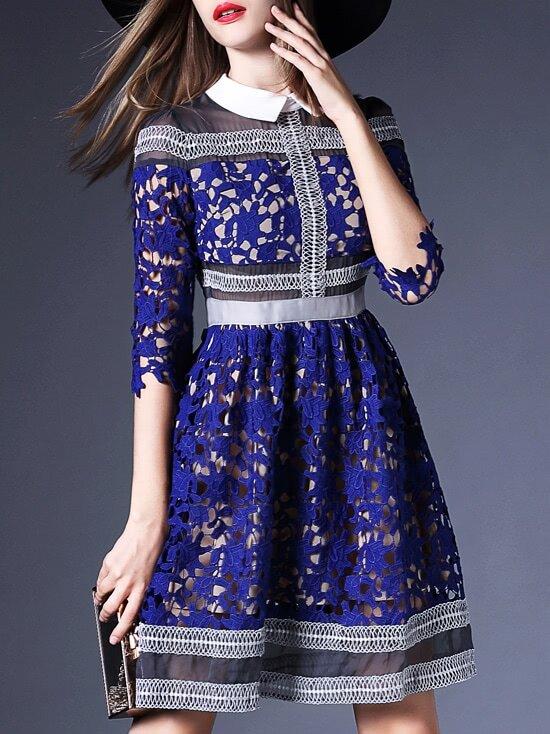 aaa6518842 Blue Lapel Crochet Hollow Out A-Line Dress | SHEIN