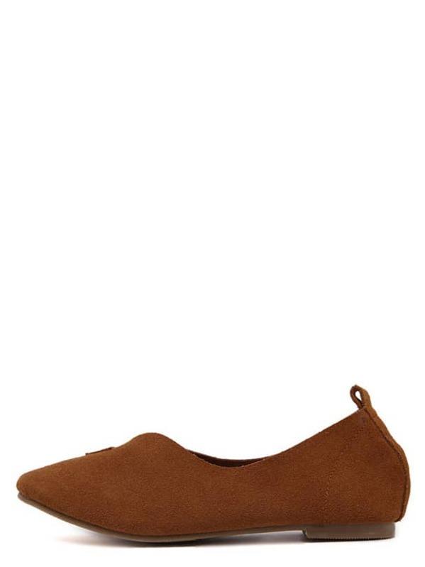 5ce37f60b7e Zapatos planos gamuza faux - marrón -Spanish SheIn(Sheinside)