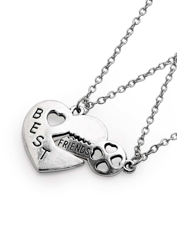 d7f9207011 Silver Letter Etched Heart Lock And Key Pendant Necklace Set Shein
