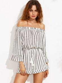 a9e1169227 Black and White Striped Off The Shoulder Drawstring Jumpsuit -SHEIN( SHEINSIDE)