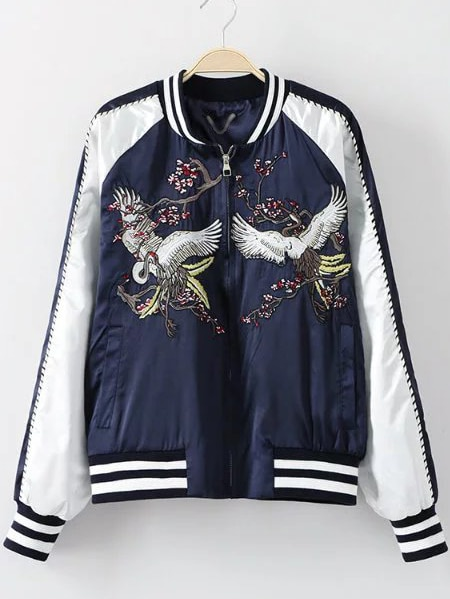 Navy Crane Embroidery Jacket