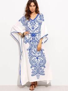 6ed372ebbd V Neckline Print Batwing Sleeve Kaftan Dress | SHEIN IN