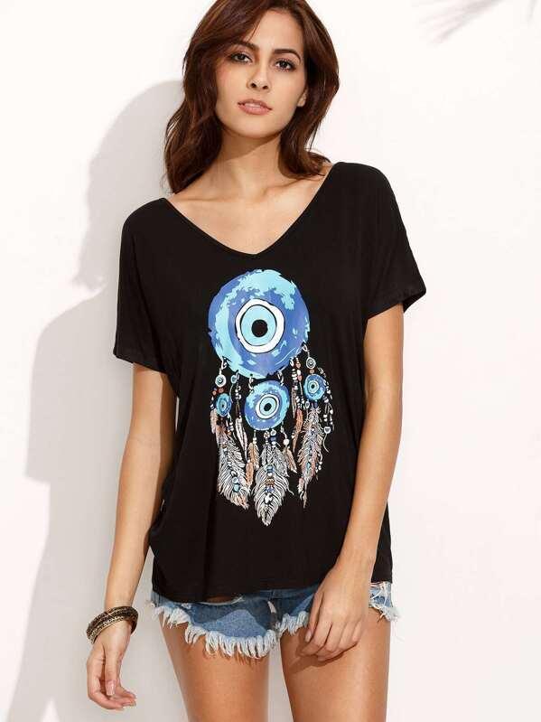 f379045015 Dream-catcher Print in Black V Neck T-shirt | SHEIN IN