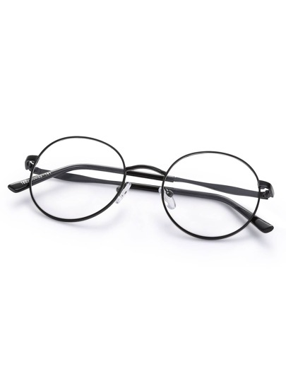 Black Metal Frame Glasses : Black Metal Frame Round Glasses -SheIn(Sheinside)