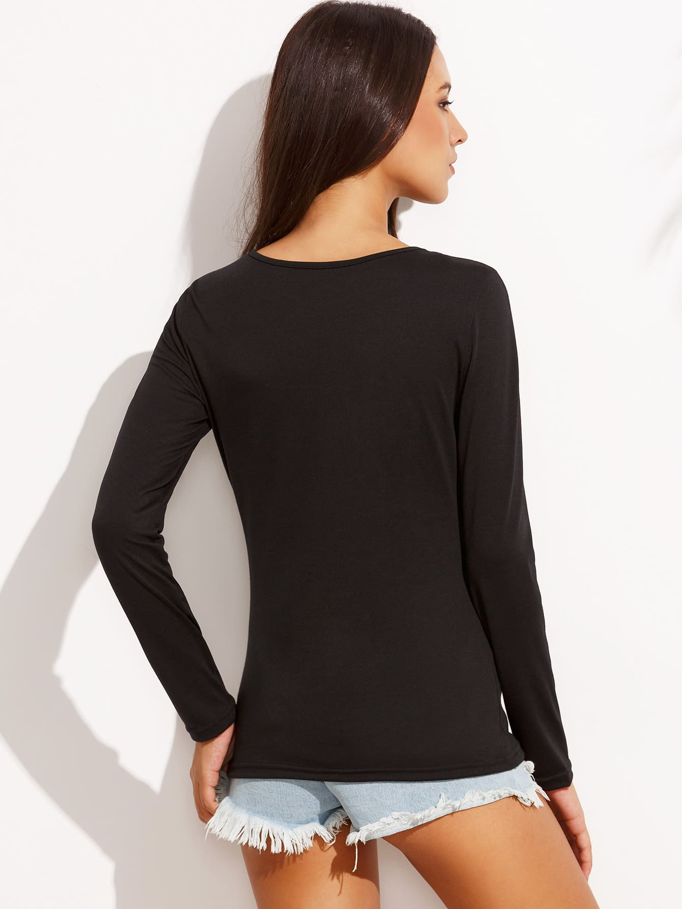 Black Cutout Lattice V Neck T-shirt