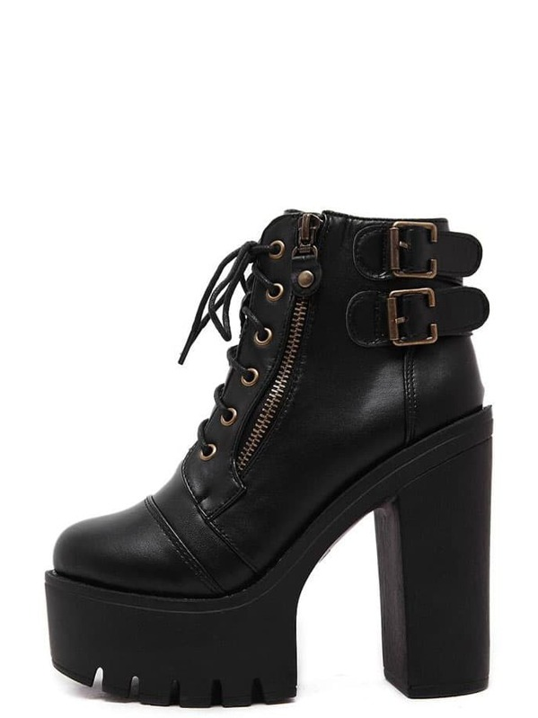 06ba088505 Black Faux Leather Lace Up Side Zipper Buckle Platform Ankle Boots | SHEIN