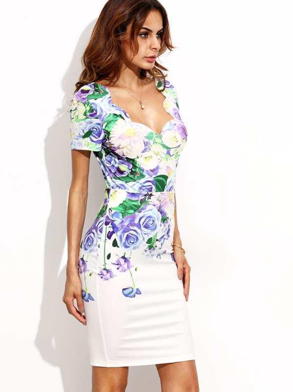 8093be8c4a73c Plunge Neckline Scalloped Edge V Back Floral Dress