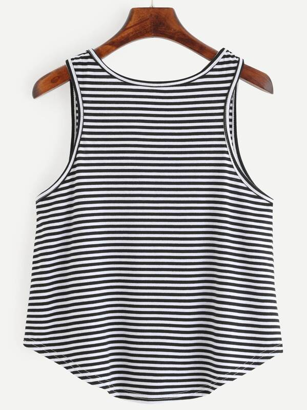 c5ebdb3dca62c0 Black White Striped Curved Hem Tank Top