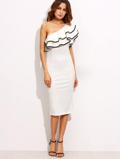 White One Shoulder Ruffle Sleeve Sheath Midi Dress -SheIn(Sheinside)