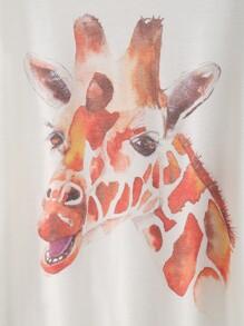 d63960e85 White Giraffe Print Dolman Sleeve T-shirt | SHEIN