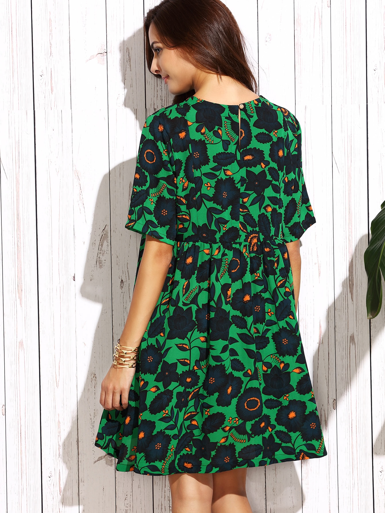 Dark Green Floral Shift Dress