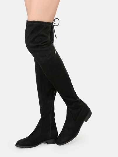 flat heel thigh high boots black shein sheinside