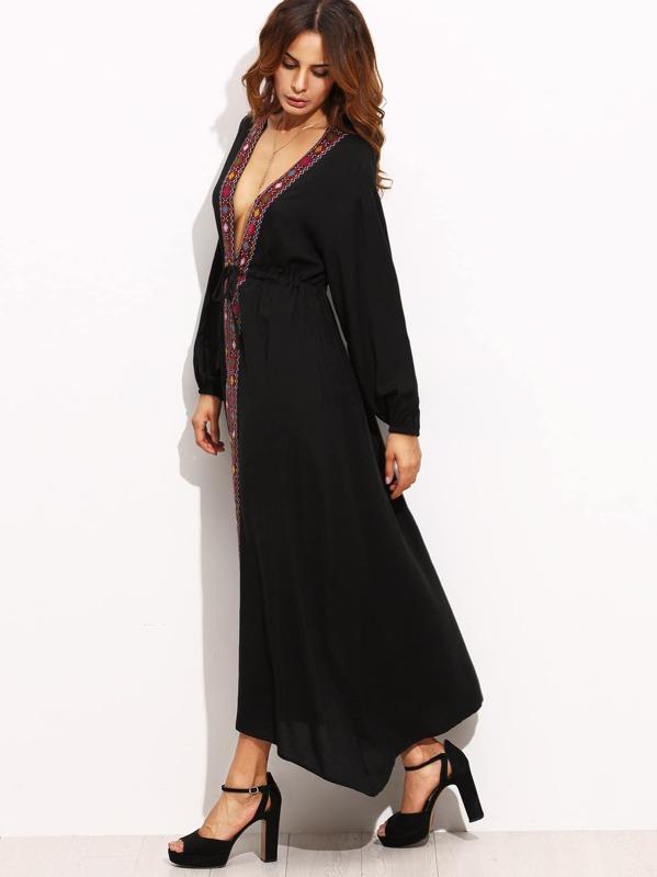 Robe col V plongeant manche longue avec appliques - noir-French  SheIn(Sheinside) deba465bb9cd