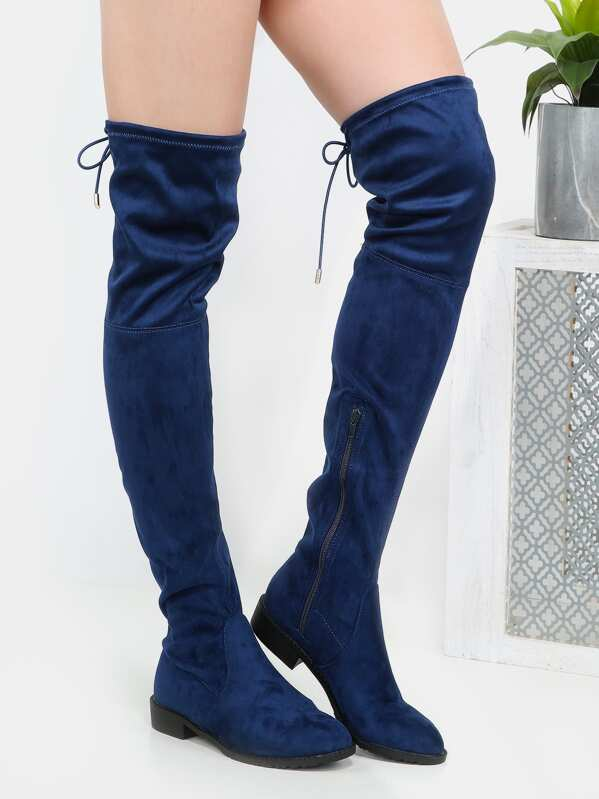 fc54dbe0261 Tie Back Suede Thigh High Boots NAVY