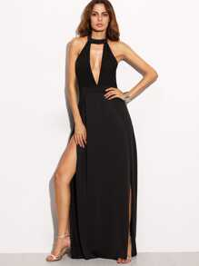 Deep Plunge Neck Backless High Slit Dress