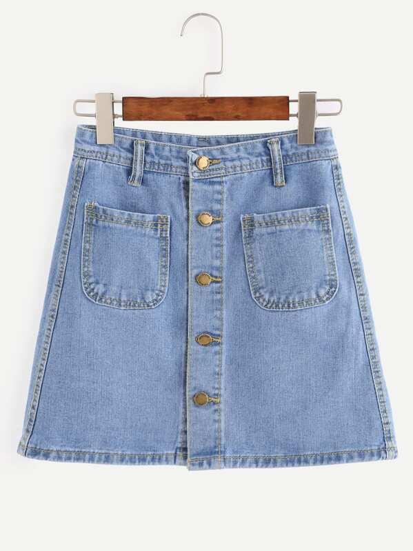 011043b69 Falda recta denim con botones bolsillo - azul