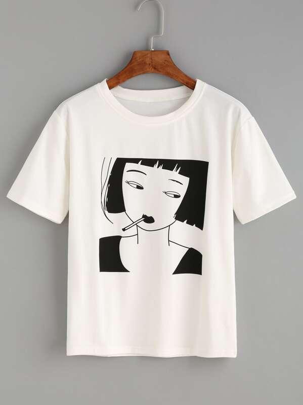 8e027346c Cheap White Smoking Girl Print T-shirt for sale Australia | SHEIN
