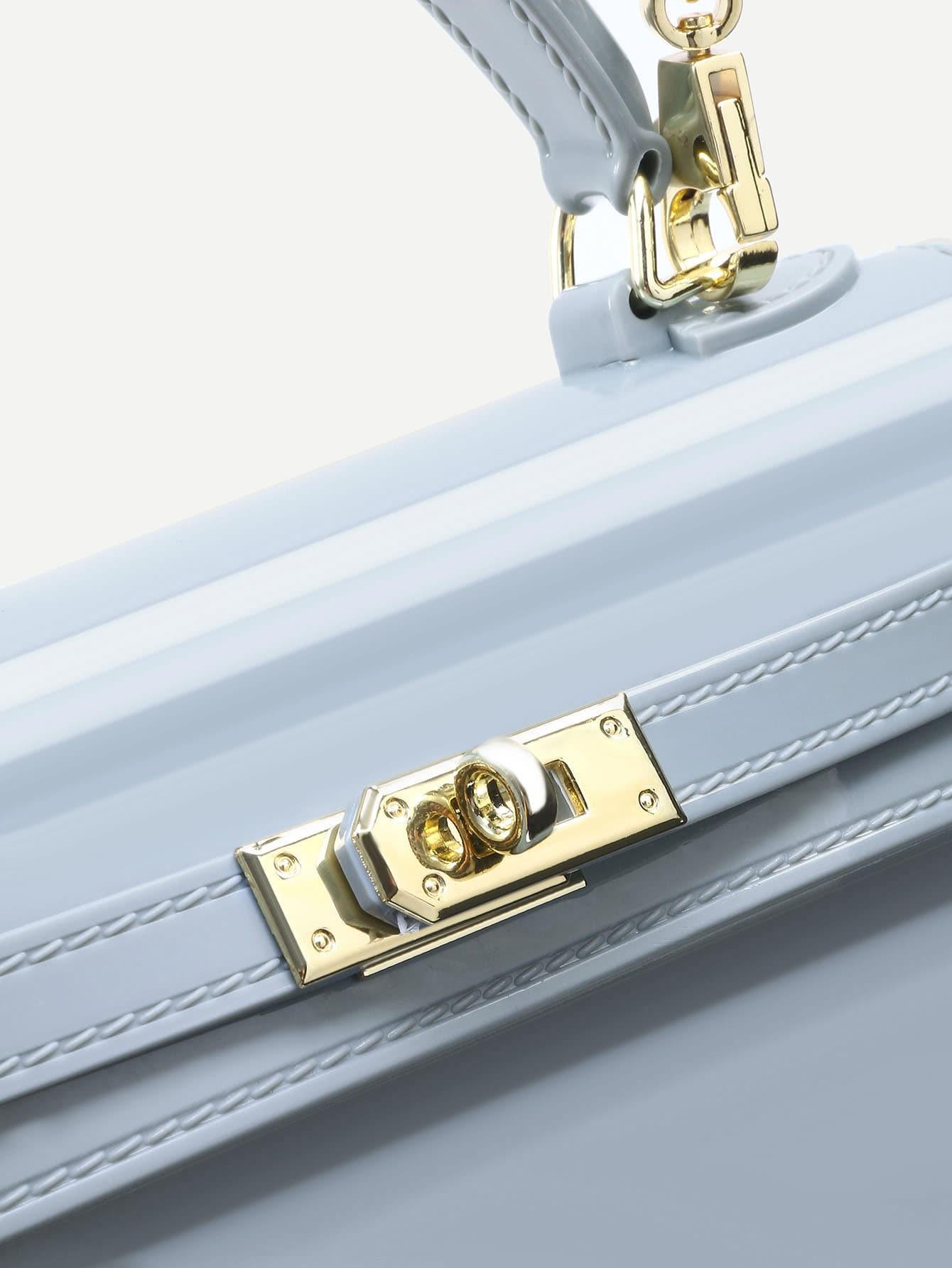 Grey Turnlock Strap Closure Plastic Satchel Bag