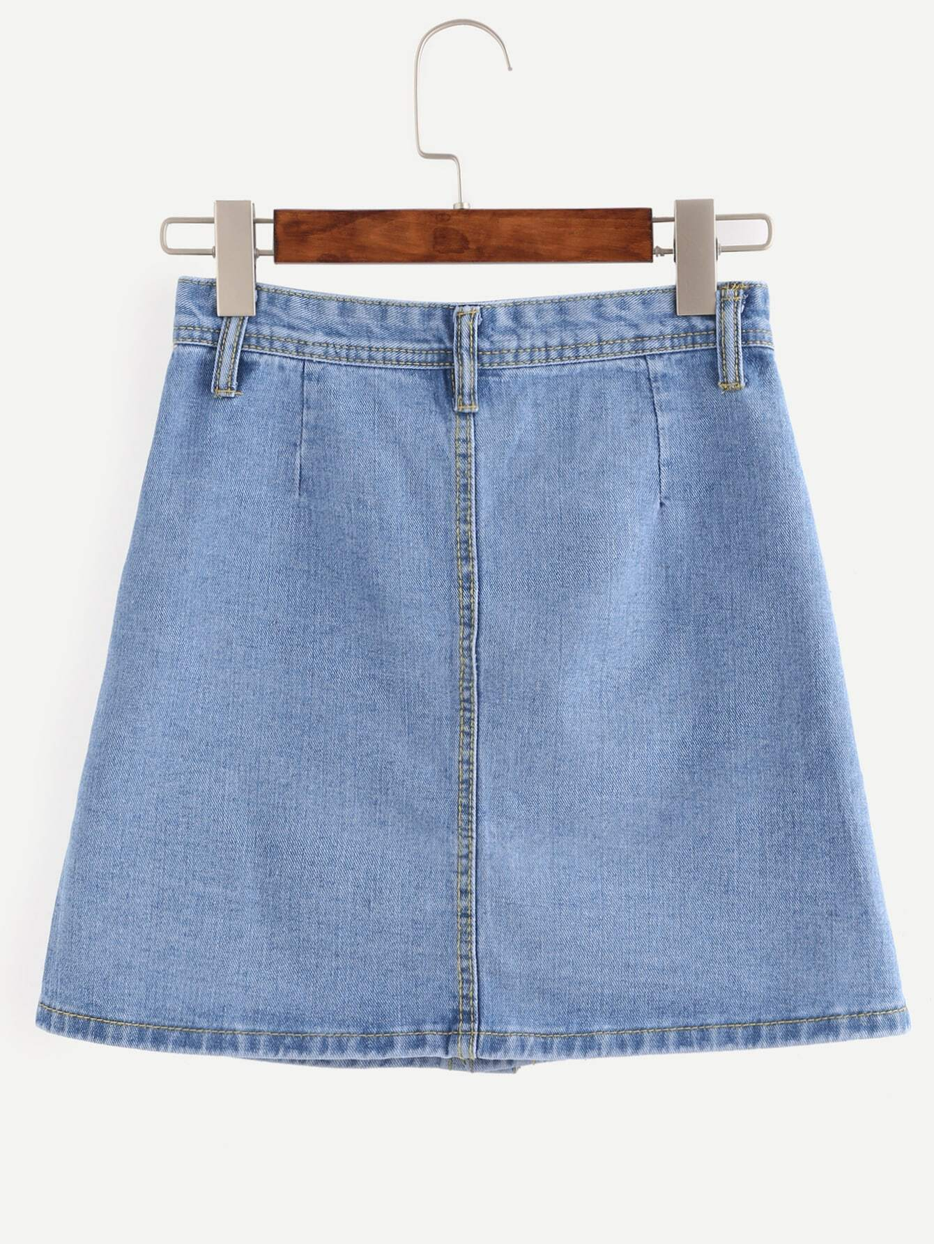 Blue Button Front Dual Pocket A Line Denim Skirt