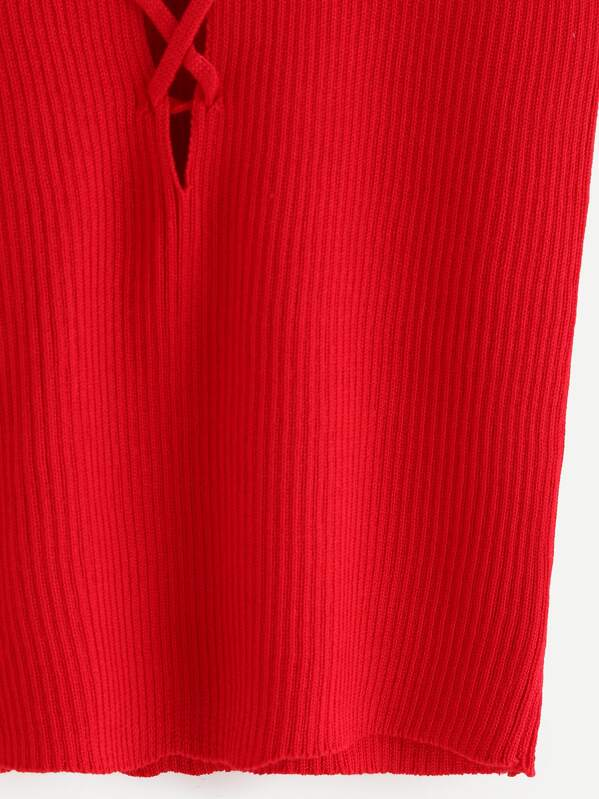 cf70581fa073c Red Cutout Lace Up Ribbed Knit Tank Top -SheIn(Sheinside)