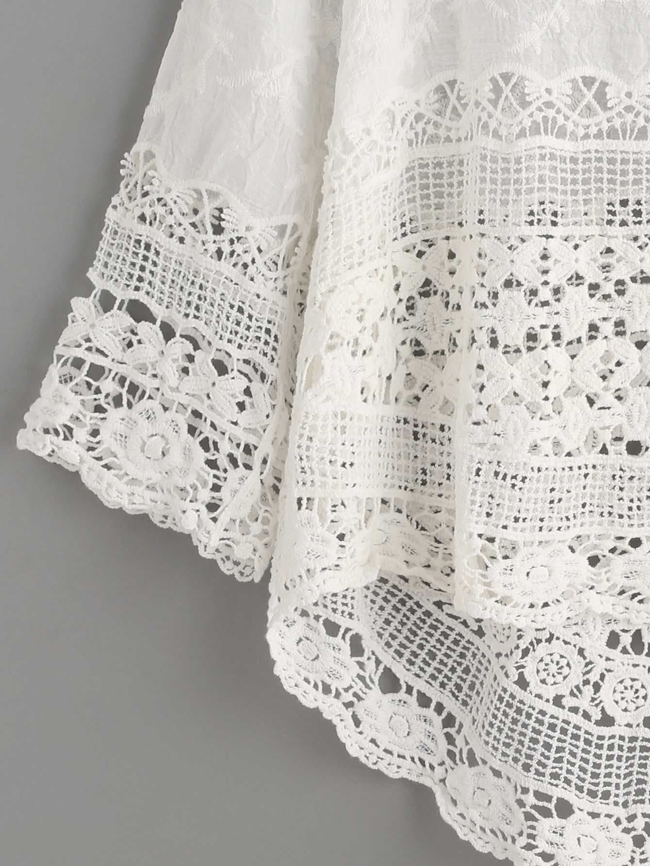 White Crochet Hollow Out Dip Hem Blouse