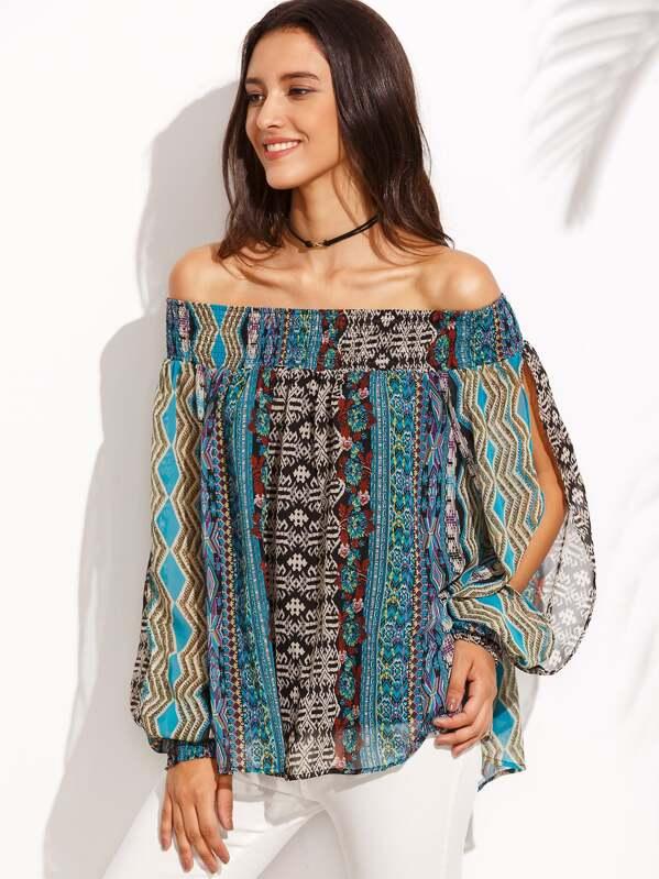 f7af23e70 Blusa estampada hombro al aire manga con abertura - multicolor | SHEIN ES